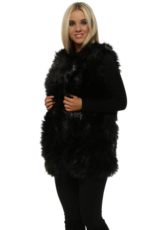 Cotton Club Black Fluffy Longline Gilet