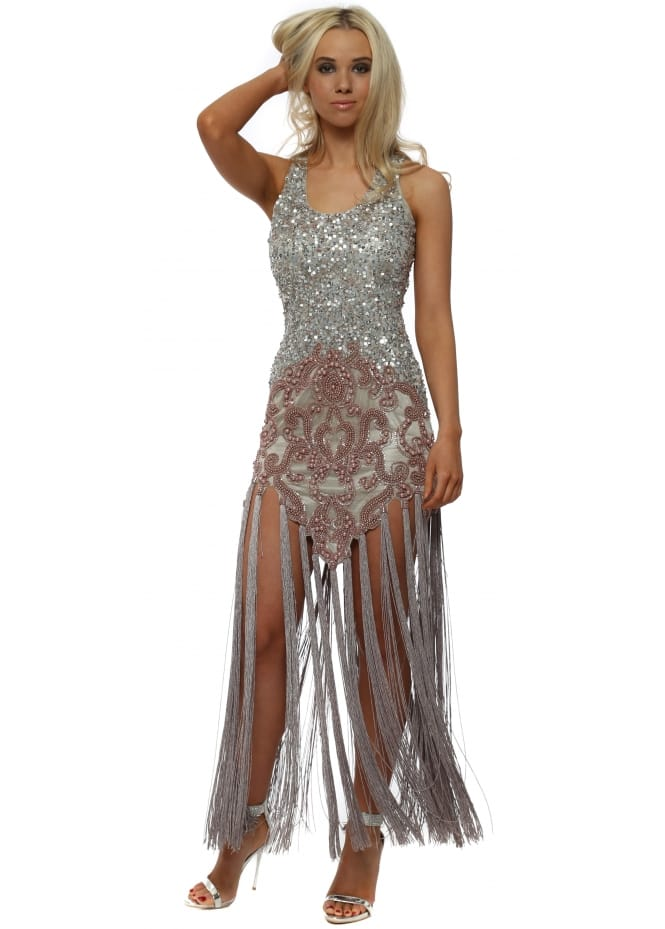 Starry Eyed EXCLUSIVE Silver Sequin & Beaded Tassel Dress