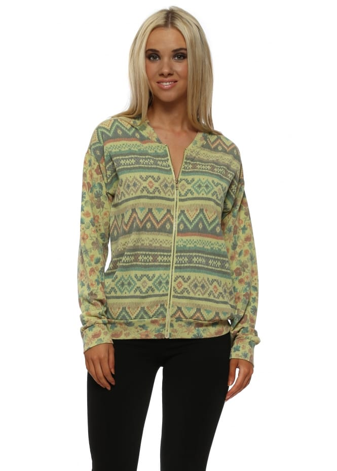 A Postcard From Brighton Faithe Golden Lime Floral Fairisle Bomber Jacket