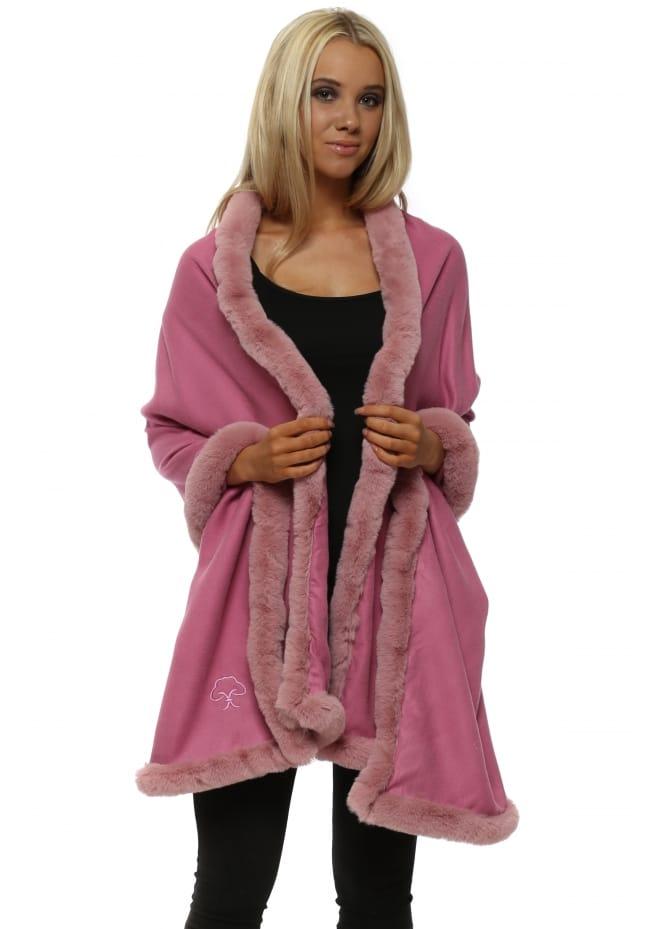 JayLey Raspberry Pink Cashmere Faux Fur Trimmed Wrap