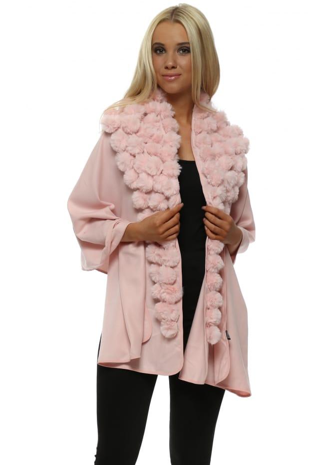 JayLey Pink Cashmere Multi Pom Pom Wrap