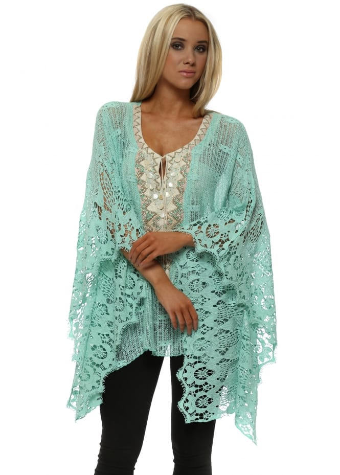 Laurie & Joe Aqua Cotton Crochet Beaded Kaftan Top