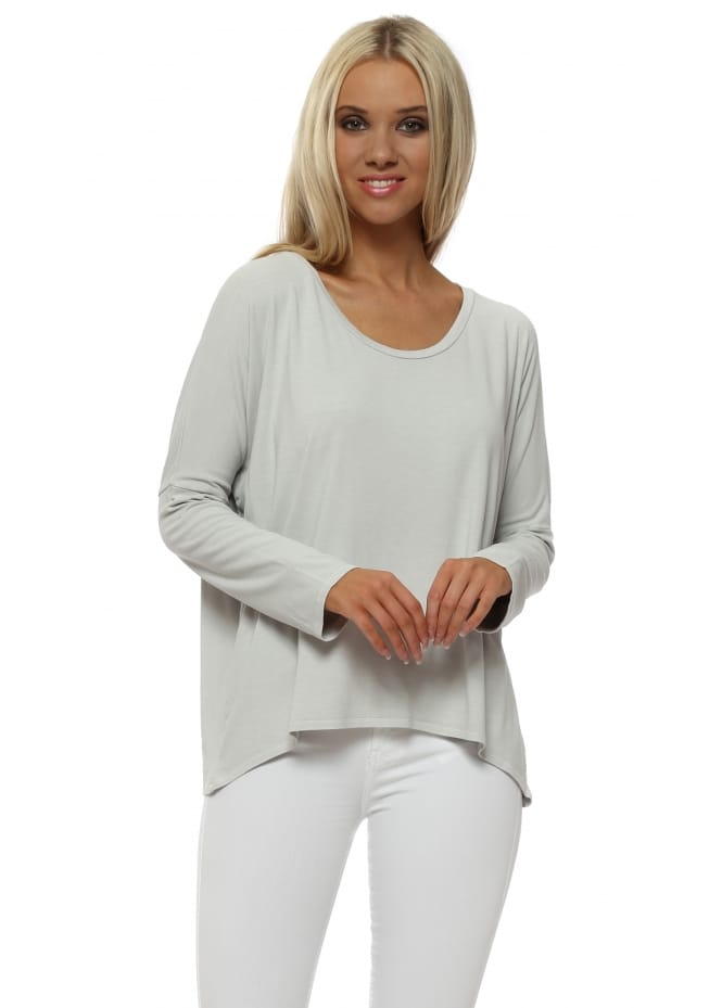 A Postcard From Brighton Grey White Karma Long Sleeves Slouch Top