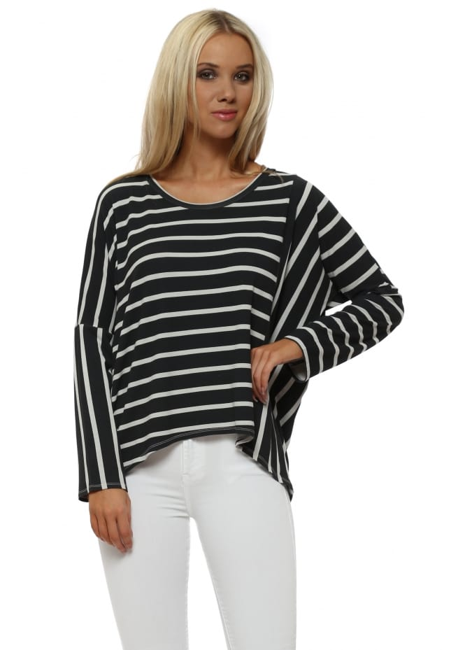 A Postcard From Brighton Bea Grey White Brighton Stripe Karma Top