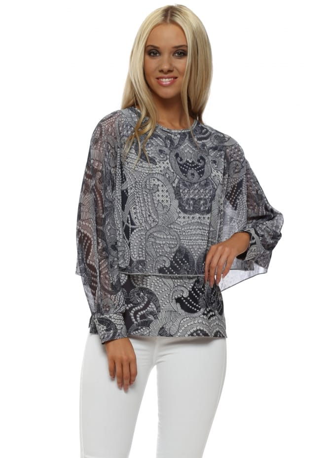 A Postcard From Brighton Lexi Grey White Luxe Luxe Angel Wing Top