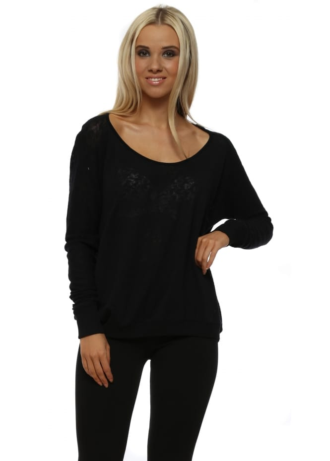 A Postcard From Brighton Hermoine Black Slub Knit Top