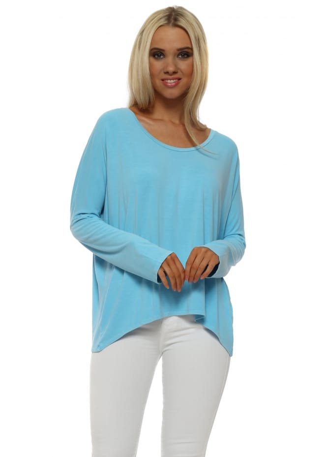 A Postcard From Brighton Karma Sky Long Sleeve Slouch Top