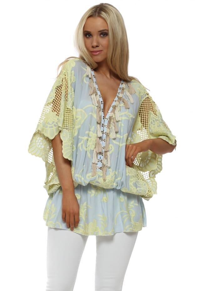 Laurie & Joe Yellow & Blue Crochet Embellished Kaftan Top