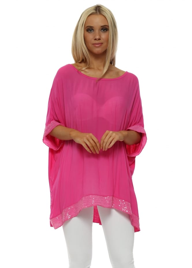 Italian Boutique Hot Pink Sequinned Oversized Slouch Top