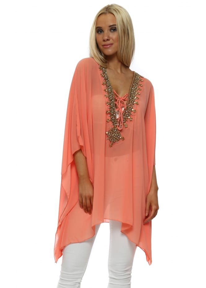 French Boutique Coral Gold Beaded Diamante Kaftan Top
