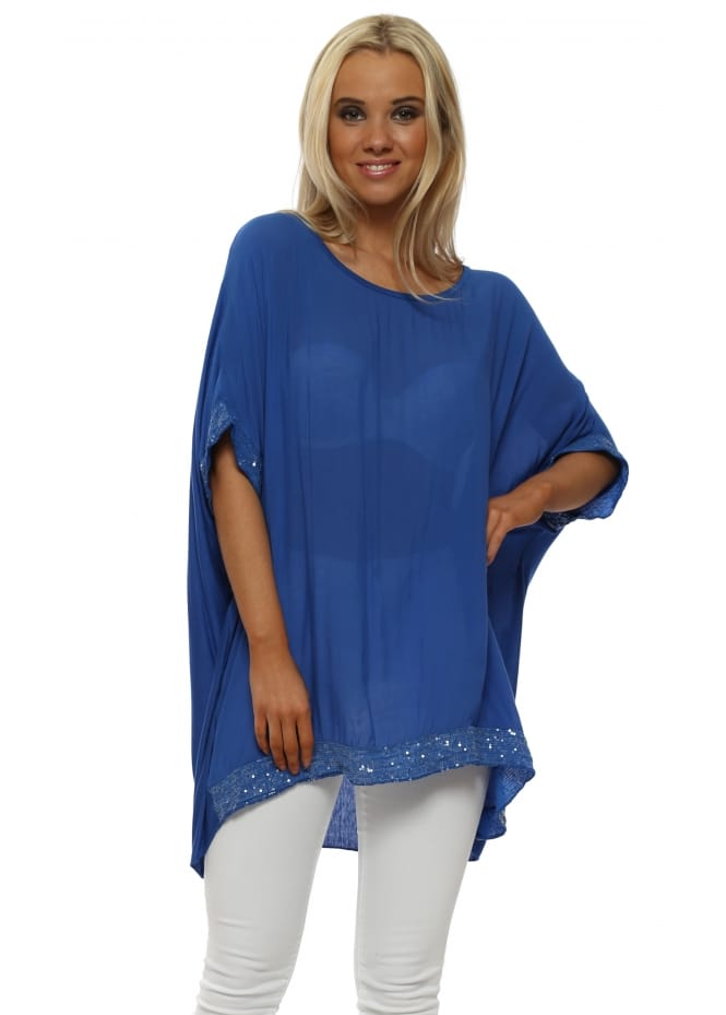 Made In Italy Cobalt Blue Sequinned Oversized Slouch Top