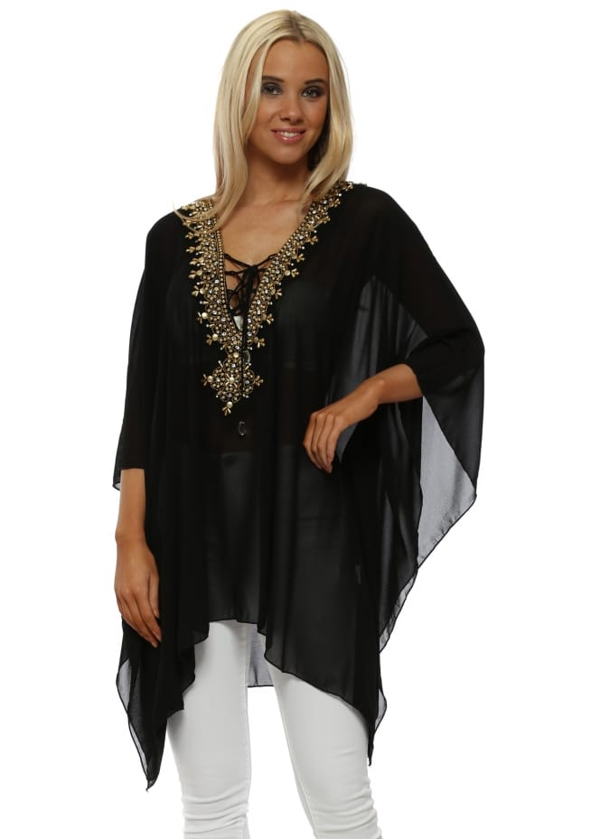Azaka Black Gold Beaded Diamante Kaftan Top