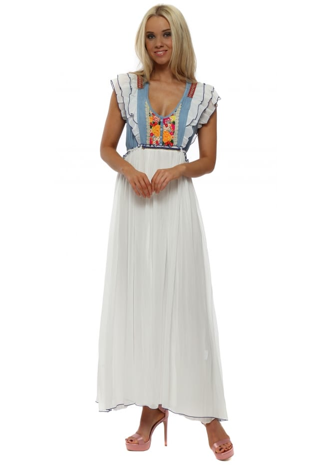 White Chiffon Maxi Dress