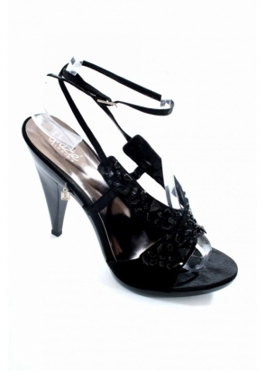 Unze Black Satin Rhinestone Trimmed Sandals