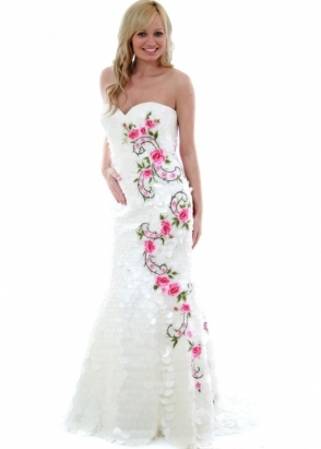 Sherri Hill White Petals &amp; Roses Ball Gown Style 2258