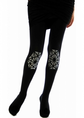 Zohara Silver Embellished Tights - Leggings