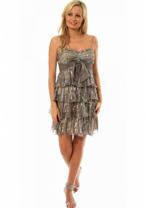 Scala Sequin Frilled Party Dress - Style N8004