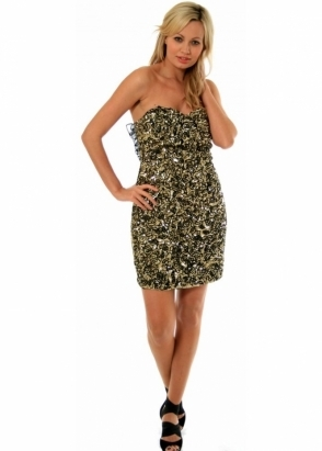 Liquorish Dress Gold Sequinned Ruffle Back