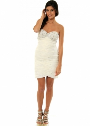BG Haute Dress White Ruched Jewelled Bust