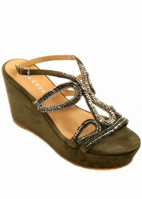 Lola Cruz Sandals Jewelled Suede Wedges 