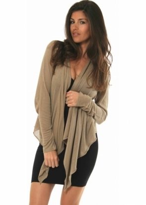 Sack's Waterfall Cardigan Taupe Silk & Linen