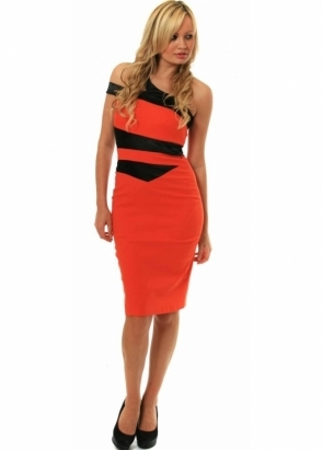 Hybrid Dress Spellbound Contrast Insert One Shoulder Asymmetric 
