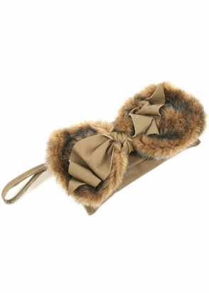 Nicola Dann Bag Faux Fur Bow Taupe Leather Clutch