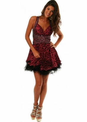 Forever Unique Dress Animal Print Cut Away Embellished Pink Benita Prom Dress