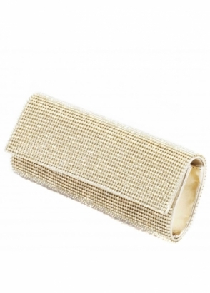 KoKo Clutch Crystal Fully Embellished Gold Tube Clutch Bag