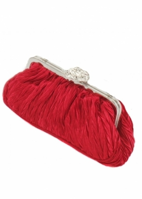 KoKo Bag Red Pleated Satin With Crystal Studded Clasp Clutch Bag