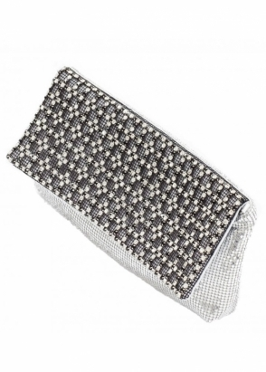 KoKo Bag Silver Chainmail & Crystal Embellished Clutch Bag