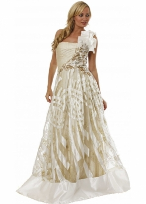 Koo-Ture Ball Gown Ivory Satin & Gold Mesh Prom Dress