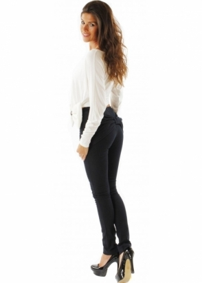Lisa Jayne Dann Jeans Oversized Bow Back Detail Skinny Leg Trousers