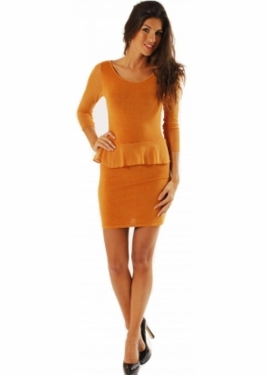 A Postcard From Brighton Dress Allanah Amber Jersey Mesh Sleeve Peplum Dress