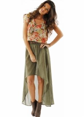 Minkpink Skirt Nimbin Belted Moss Cotton Maxi-Mini Skirt