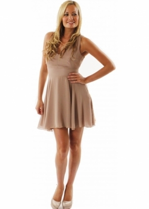 Love Dress Beige Chiffon Cross Back Flare Mini Dress