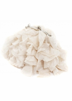 KoKo Bag Silky Satin Petals Champagne Evening Bag