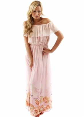 Traffic People Dress Breathless Seashell & Bird Pink Silk Maxi Dress