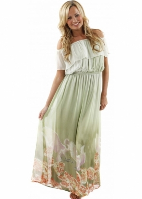 Traffic People Dress Breathless Seashell & Bird Green Silk Maxi Dress
