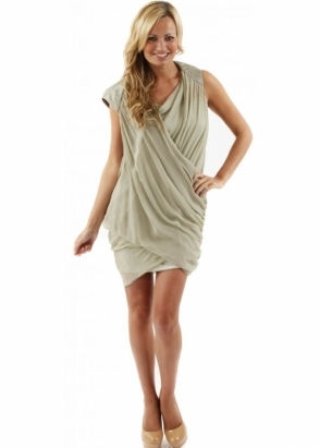 Traffic People Dress Folds Cross Over Drape Silk Pale Green Mini Dress