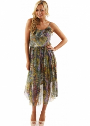 Traffic People Dress Faded Bloom Fontaine Floral Printed Silk Green Midi Dress