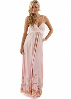 Traffic People Dress Seashell & Bird Printed Pink Silk Maxi Dress