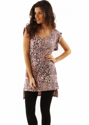 A Postcard From Brighton Top Valenta Animal Print Rose Quartz Tunic Dress