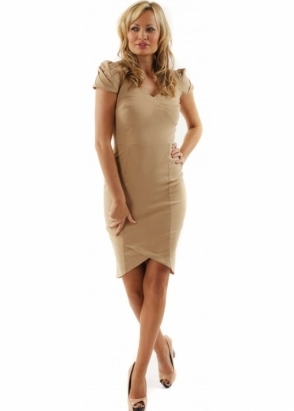 Hybrid Dress Camel Sweetheart Neckline Pleated Cap Sleeve Dress