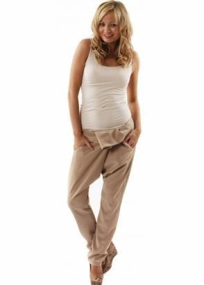 Lisa Jayne Dann Trousers Budapest Pleat Front Beige Harem Pants