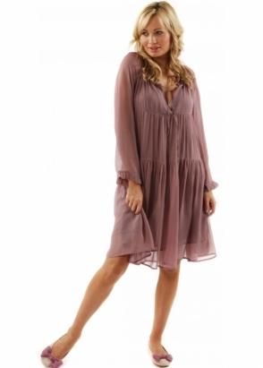 Ruby & Ed Dress Silk Georgette Aruna Dusty Rose Swing Dress