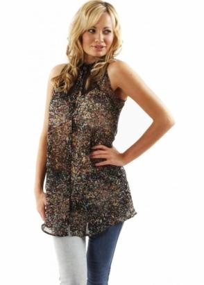 Oh My Love Shirt Flec Cut Out Multi Coloured Sleeveless Shirt