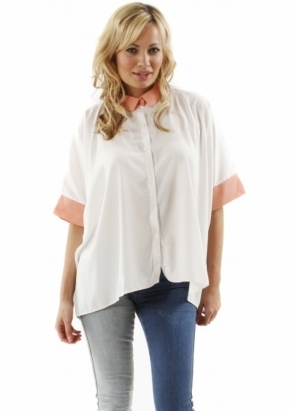 Oh My Love Shirt Coral Contrast Cuff Oversized White Blouse