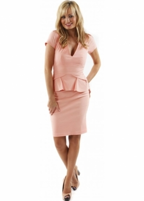 Hybrid Dress Alexandra V Neck & Pleated Peplum Peach Fitted Pencil Dress