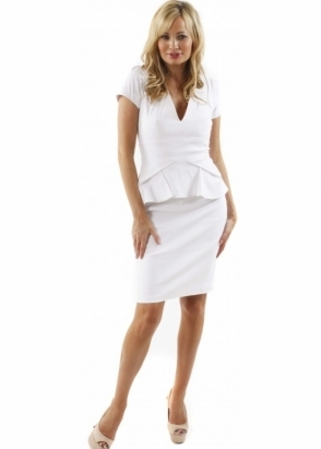 Hybrid Dress Alexandra V Neck & Pleated Peplum White Fitted Pencil Dress